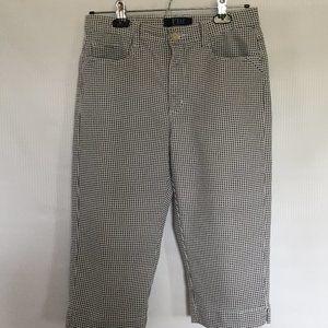 Mid Rise Slit Capri Pants/ Stretchy Jean/Plaid